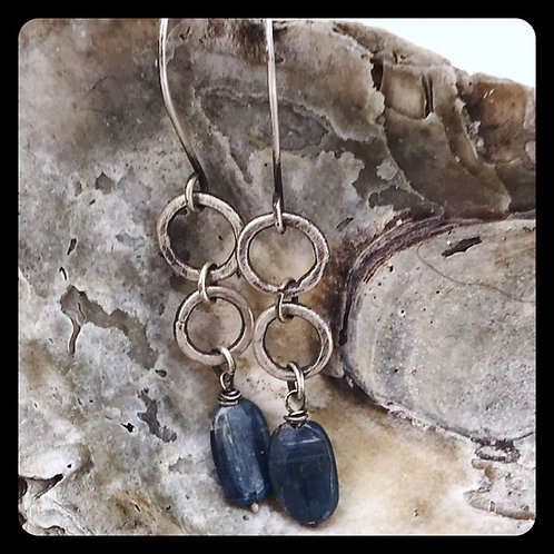 Ring Ring Sterling Silver and Kyanite Earrings