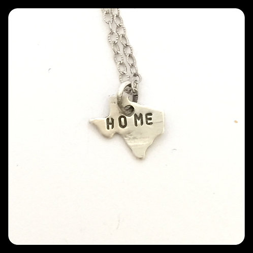 "Texas State Pride Necklace stamped ""home"""