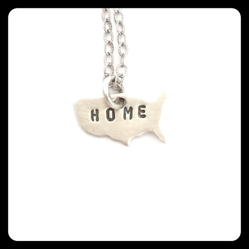 "USA Pride Necklace stamped ""home"""