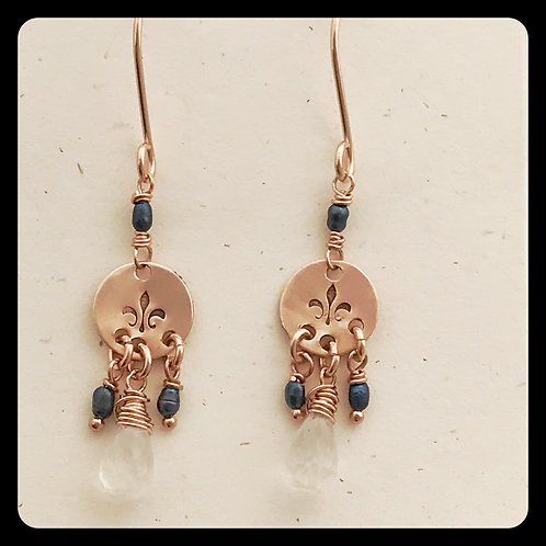 French Blue Pearl Fleur de Lis rose gold earrings