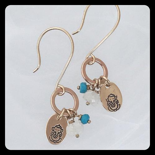 Ganesh Turquoise Moonstone 14kt gold fill earrings