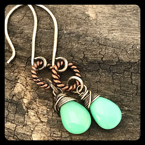 Twisted Copper and Chrysoprase Earrings