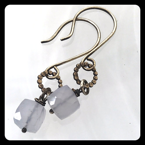 Chalcedony Cube Earrings