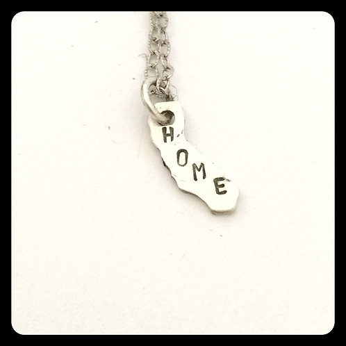 """California State Necklace stamped """"Home"""""""