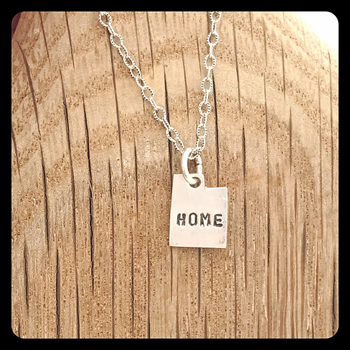 "Utah State Necklace stamped ""Home"""
