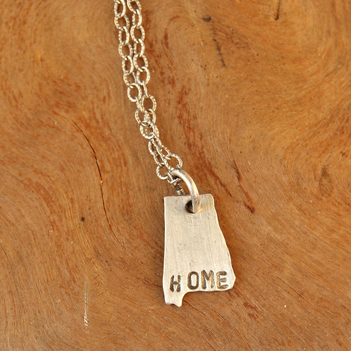 """Alabama State Pride Necklace stamped """"home"""""""