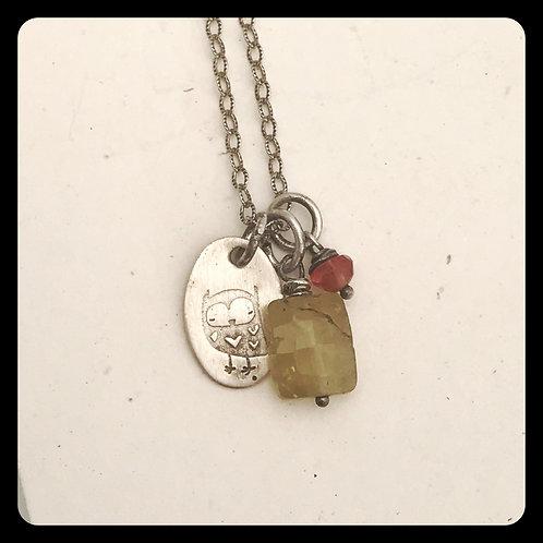 Owl Grossular Garnet Pink Sapphire Silver Necklace