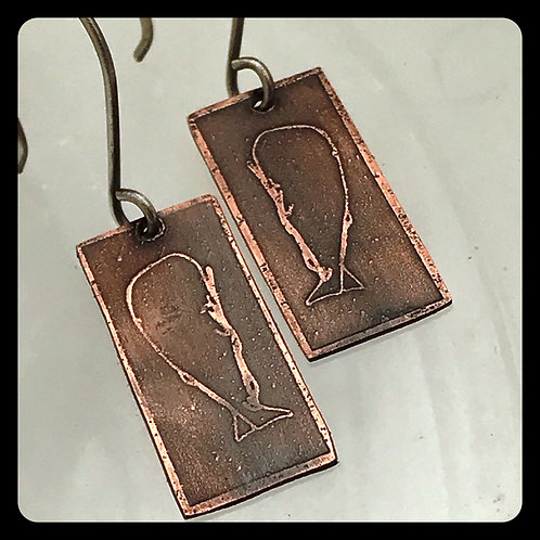 Blue Whale Copper Earrings