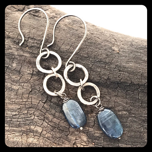 Double Ring Kyanite Earrings