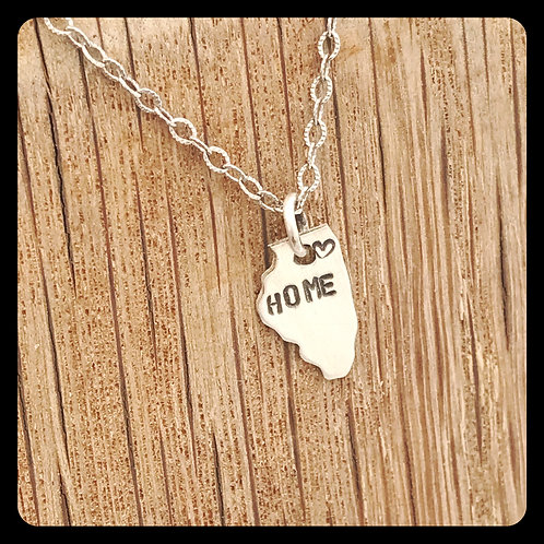 "Chicago, Illinois State Pride Necklace stamped ""home"""
