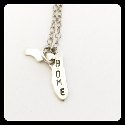 "Florida State Pride Necklace stamped ""home"""