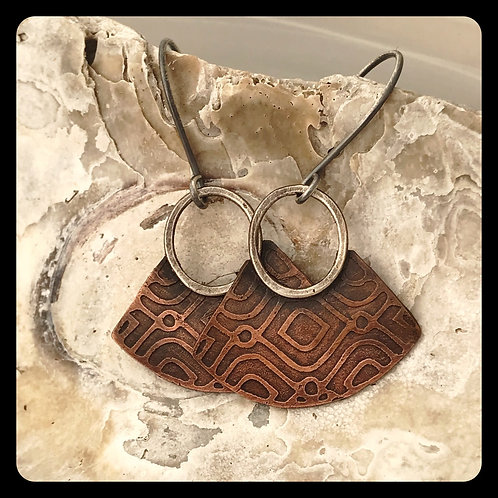 Blade Earrings in Copper and Sterling Silver