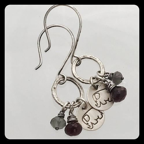 Elephant Garnet and Moonstone Silver Earrings