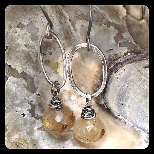 Rutilated Quartz Sterling Silver Earrings
