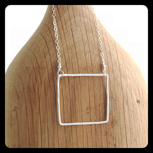 Large Square Necklace- Sterling Silver