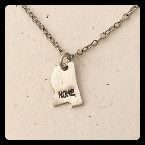 """Mississippi State Pride Necklace stamped """"home"""""""