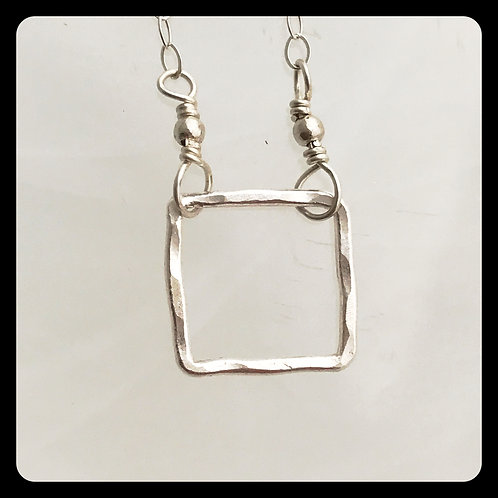 Small Square Necklace- Sterling Silver