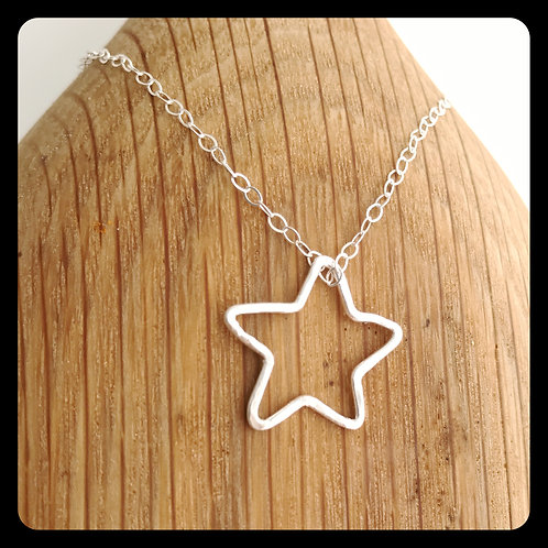 Open Star Necklace- Sterling Silver