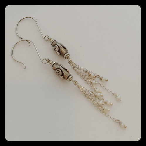 Pearl Tassel Earrings on sterling silver