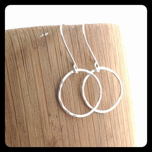 Medium Circle Earrings- Sterling Silver