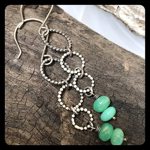 3 Ring Circus Chrysoprase Earrings