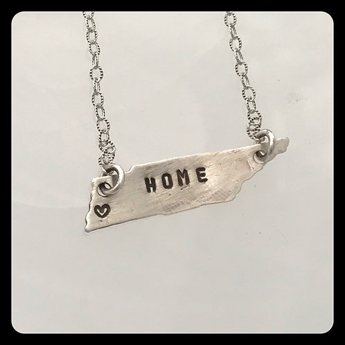 """Memphis, Tennessee State Necklace stamped """"Home"""""""