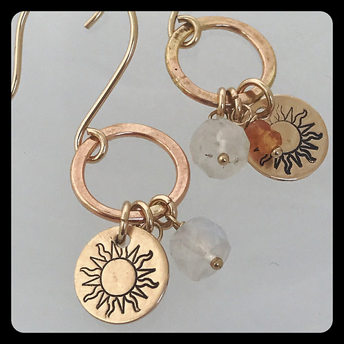 Sunburst Moonstone Mandarin Garnet gold earrings