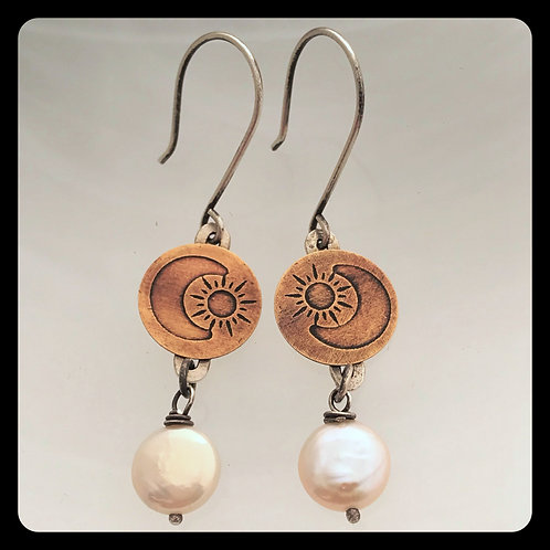 Celestine Earrings in bronze and sterling silver with pearls