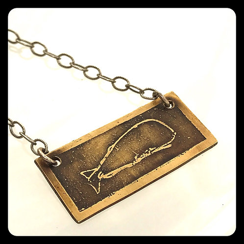 Whale of a Necklace brass and sterling silver