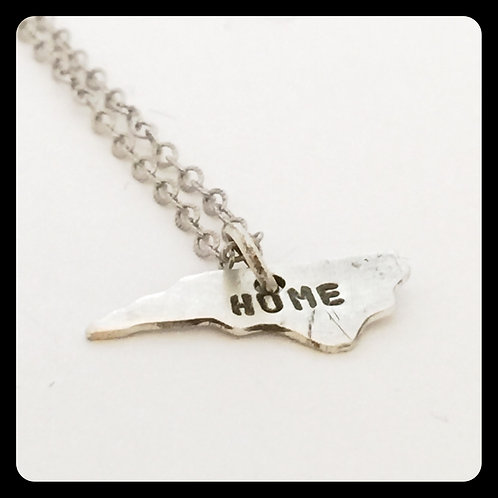 "North Carolina Pride Necklace stamped ""home"""