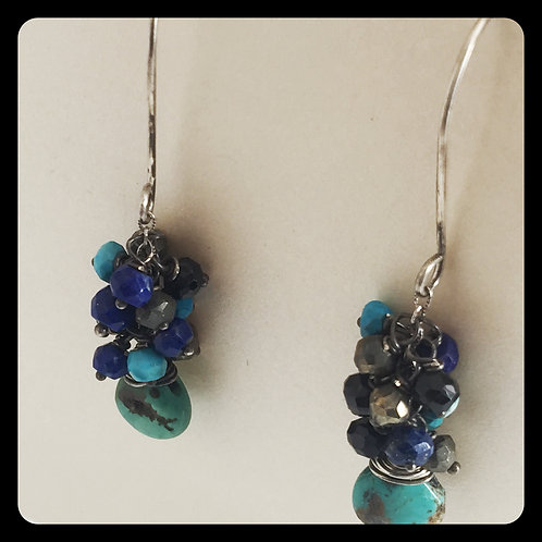 Cascade Earrings with Turquoise, Lapis, Pyrite, Spinel on SS