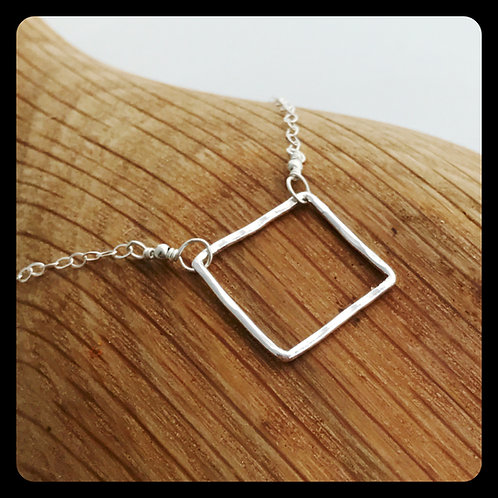 Medium Square Necklace- Sterling Silver