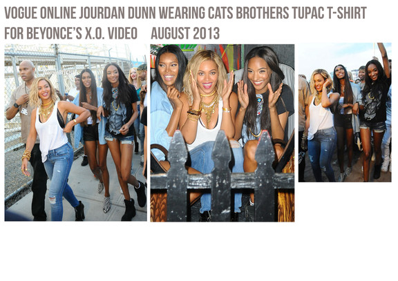 Jourdan Dunn wears Cats Brothers for the Filming of Beyonce's XO Video