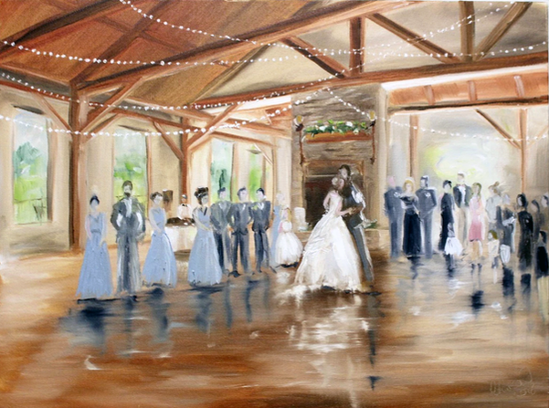 golf club wedding painting first dance.p