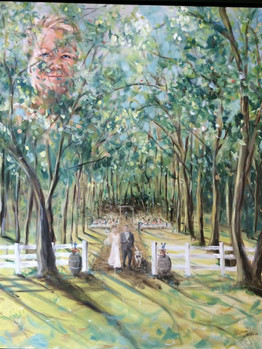 Carlos Creek Winery  - Alexandria MN - Live Painting with Portrait of Grooms Late Mother in background