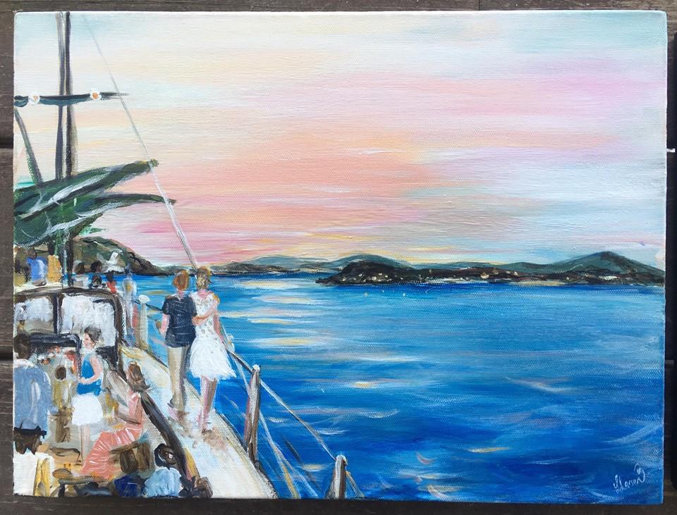 Destination Wedding  - USVI - Leanne Larson Live Wedding Painter