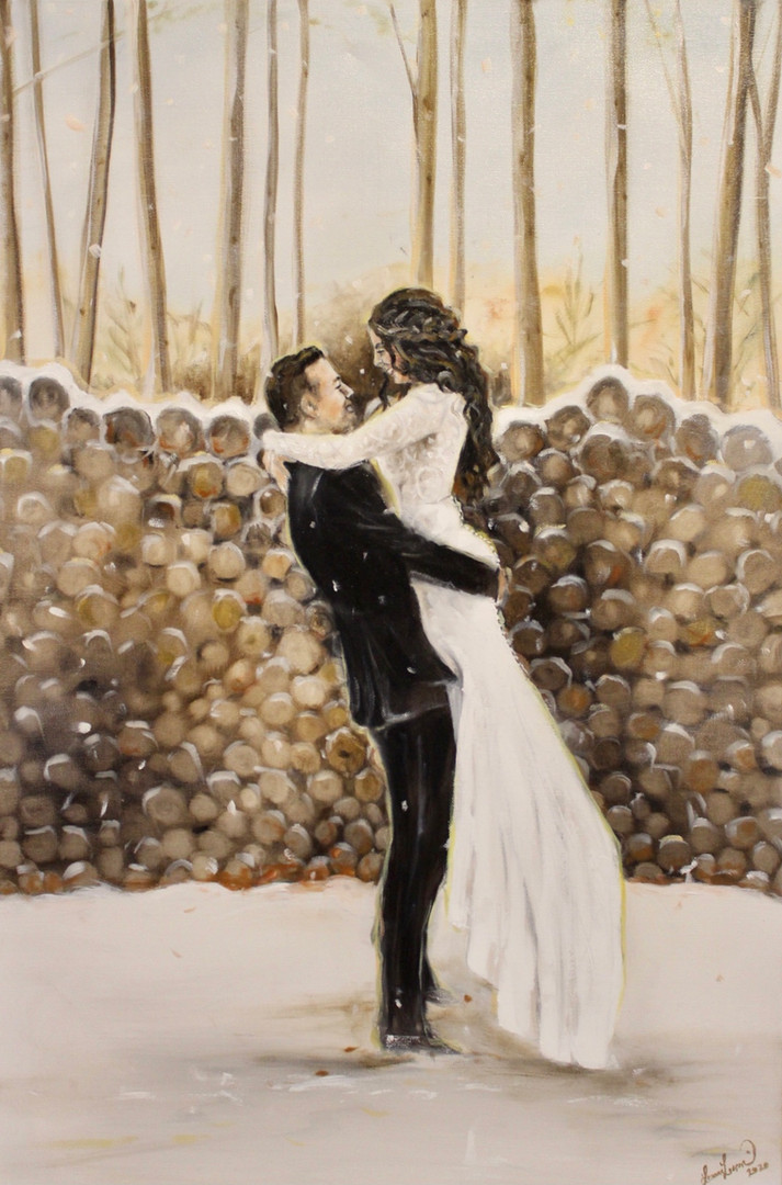 """Taylor + Devon - Oil on Canvas 24"""" x 36"""" - Painting from a Photograph"""