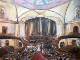 live wedding painting - church ceremony.