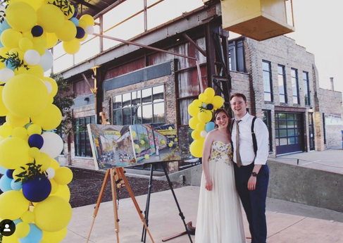 Brewery Wedding Minneapolis  - Two Paintings painted Live