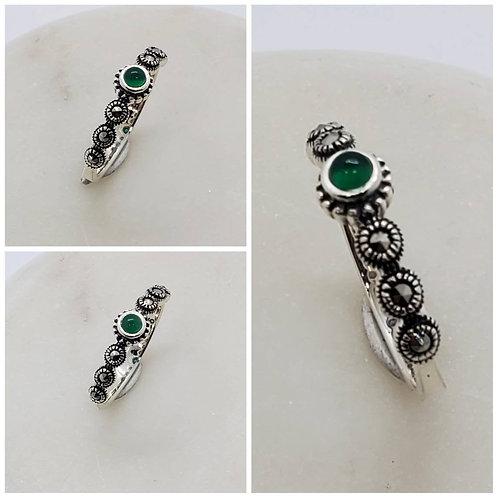 Studiodragonfly19 Gem Stone Memorial Ash Marcasite Emerald Agate Bezel Ring