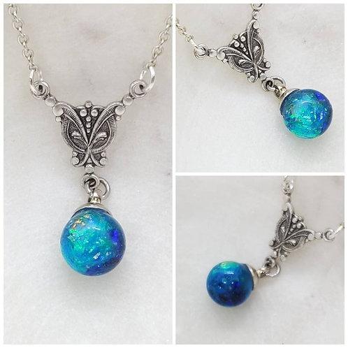Memorial Ash Glass Sphere Pendant Necklace /Cremation Necklace/Pet Ash Memorial