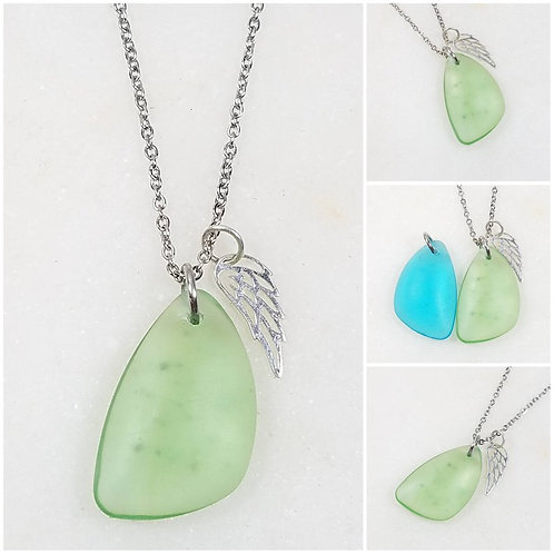 Studiodragonfly19 Memorial Ash Beach Glass Pendant Necklace/Cremation Memorial A