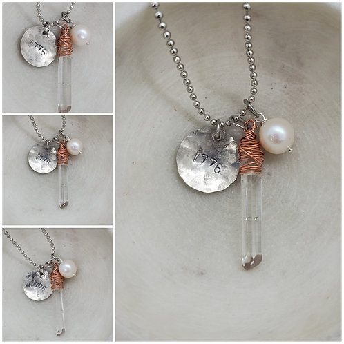Hammered 1776 Copper Wire Crystal Pearl  Pendant Free Shipping