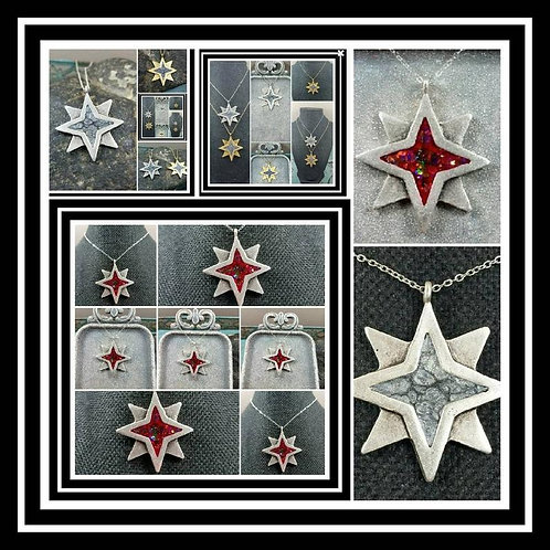 North Star Memorial Ash Pendant Necklace/Cremation Necklace/ Cremation Jewelry/