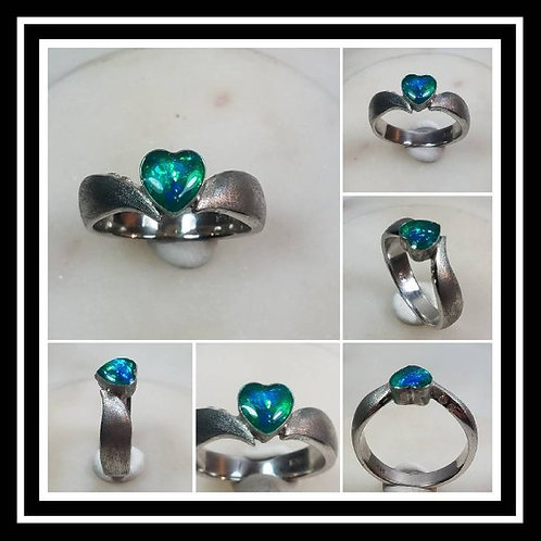 Memorial Ash Heart Sterling Silver Cremation Ring