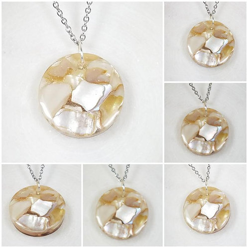 Round Memorial Beach Shell Pendant /Memorial Jewelry/ Ash Necklace/Cremation Nec