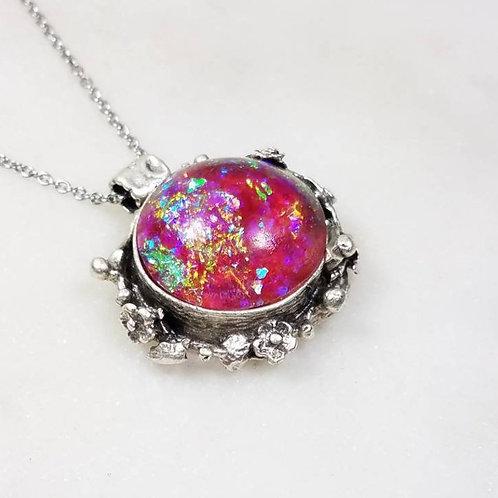 Memorial Ash Round Floral Necklace/Cremation Pendant/ Pet Memorial Jewelry/ Memo
