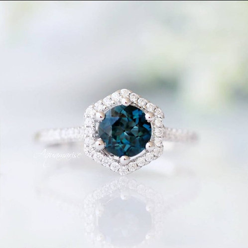 Studiodragonfly19 Memorial Ash London Blue Topaz Hexagon Ring/Memorial Ash