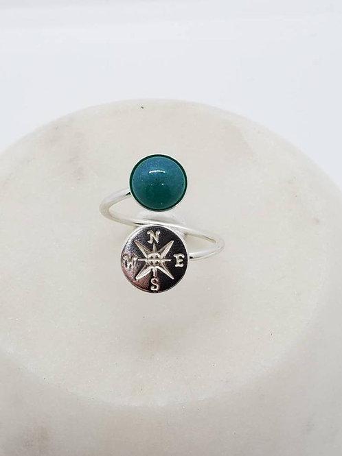 Memorial Ash Sterling Silver Compass Ring /Memorial Ash Cremation Ring/Pet