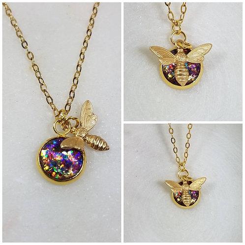Memorial Ash Round Brass Bee Charm Pendant Necklace/ Memorial Jewelry/ Ash Neckl